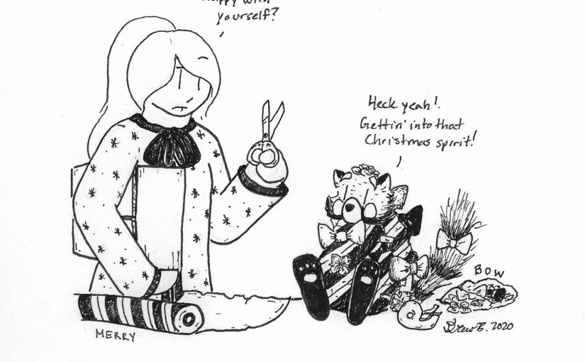 Doodcember, Days 13 and 14 – Merry and Bow