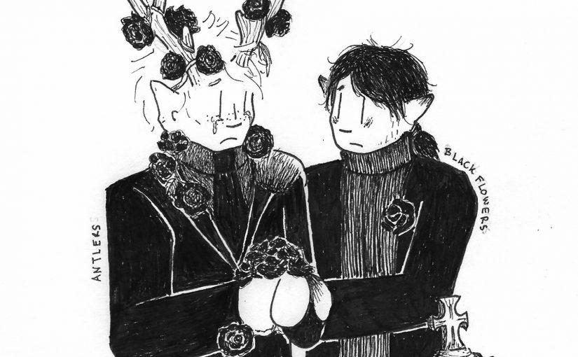 Gloomtober, Days 27+28 – Antlers/Black Flowers